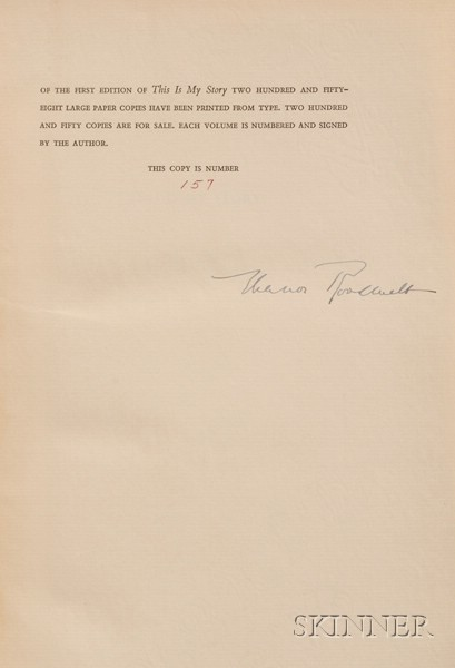 Roosevelt, Eleanor (1884-1962), Signed Copy