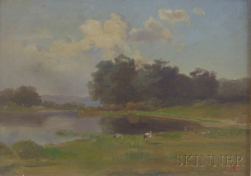 Framed American School Landscape with Pelicans