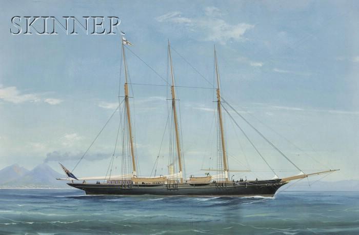 Italian School, 19th/20th Century      Lot of Two Views of a Schooner in Naples Harbor: Under Full Sail