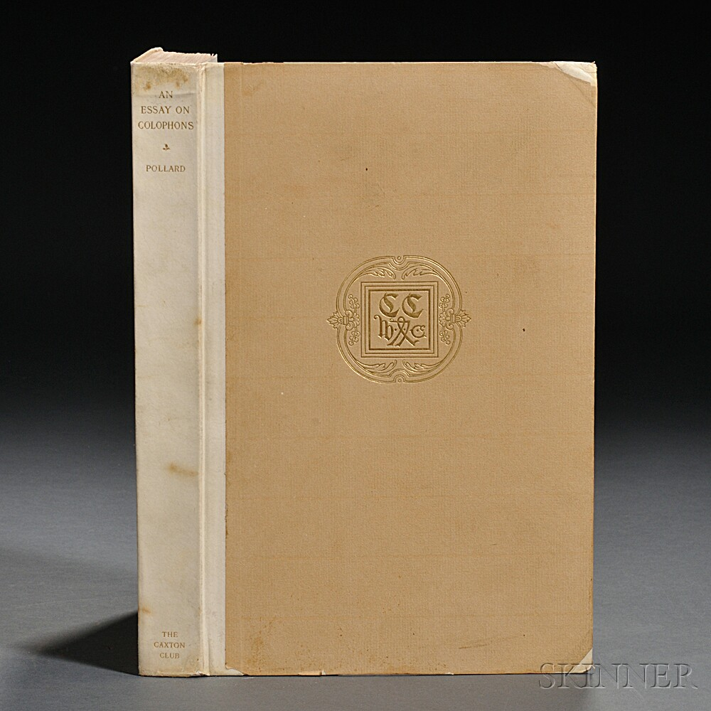 Pollard, Alfred W. (1859-1944)  Essay on Colophons with Specimens and Translations.