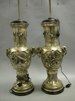 Pair of Chinese-style Silver Plated Table Lamps.