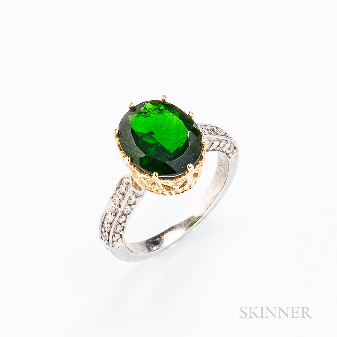 14kt Gold and Chrome Diopside Ring