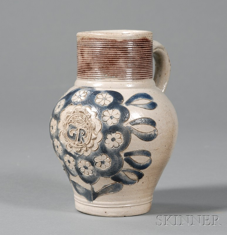 Small Cobalt Decorated Stoneware Jug
