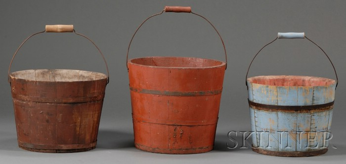 Three Shaker Painted Wooden Pails