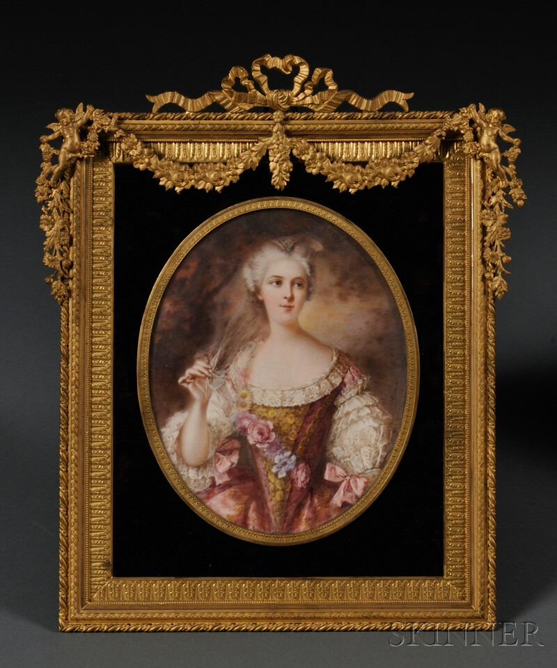 Framed Oval Portrait Miniature on Ivory