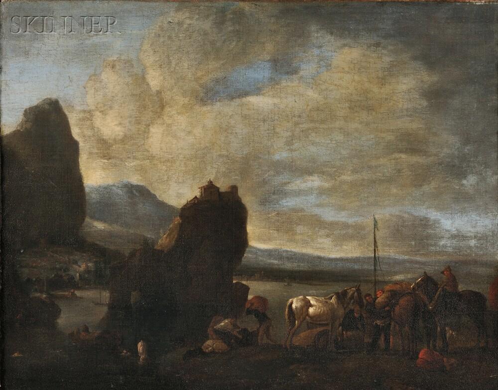 Attributed to Pieter van Bloemen, called Standard (Flemish, 1657-1720)      Harbor Scene