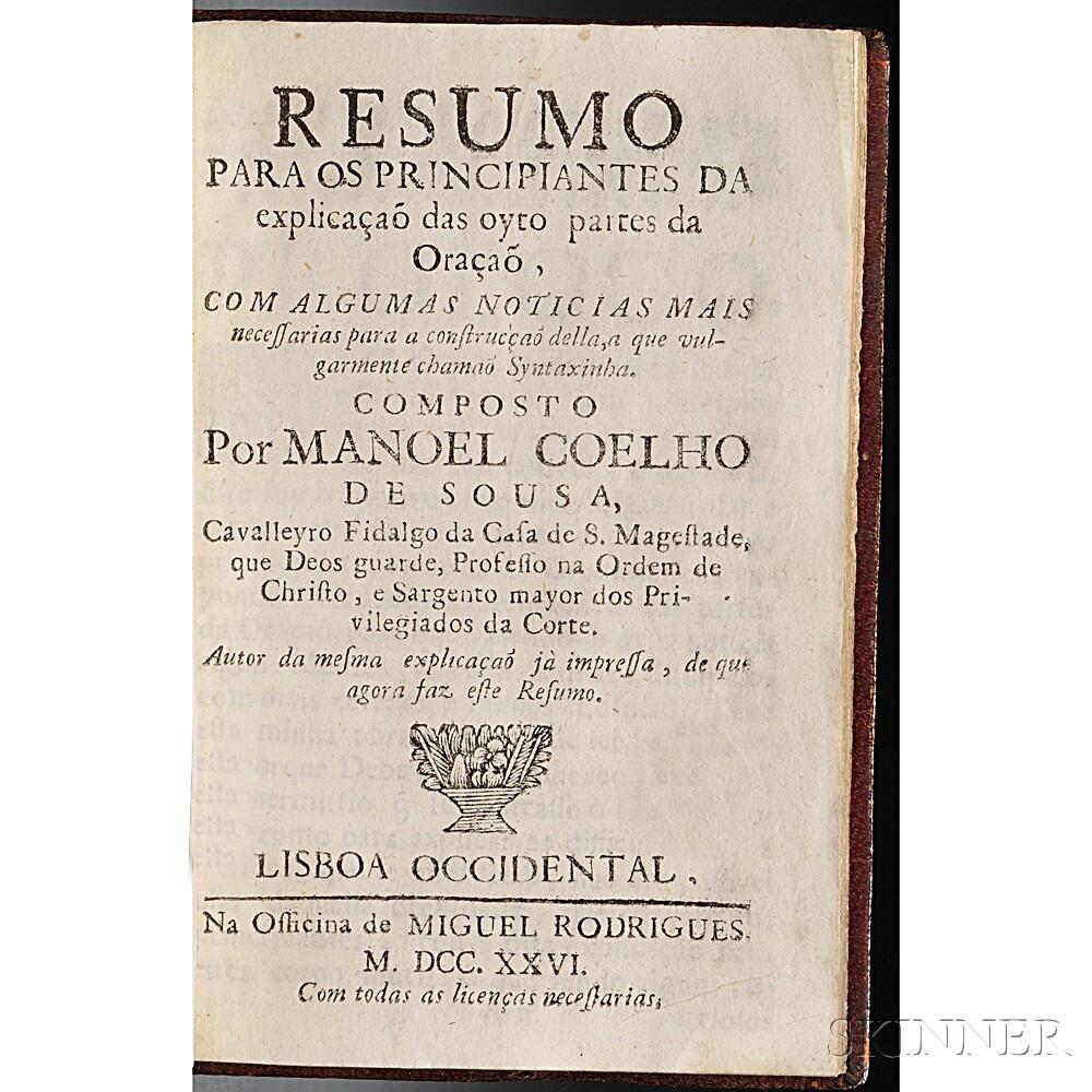 Coelho de Sousa, Manoel (fl. circa 1720) Resumo para os Principiantes da Explicacao das Oyto Partes da Oracao.