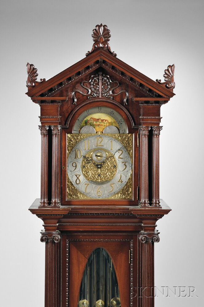Carved Mahogany Nine Tubular Bell Chime Clock