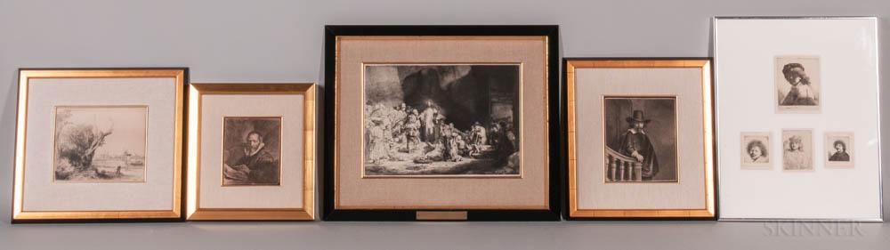 After Rembrandt van Rijn (Dutch, 1606-1669)      Eight Photomechanical Facsimile and Restrike Framed Prints
