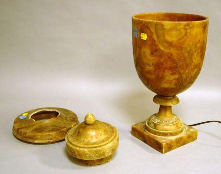 Incised Brown Onyx Urn-form Lamp.