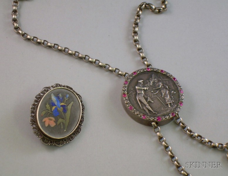 Sterling Silver Watch Chain with Slide and a Silver Framed Pietra Dura Brooch