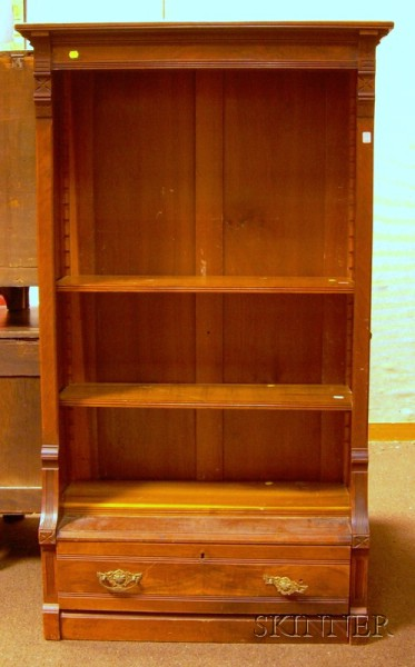 Eastlake-type Carved Walnut Open Bookcase