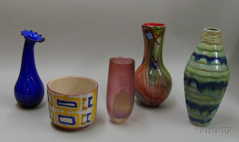 Five Pieces of Contemporary Glass and Pottery