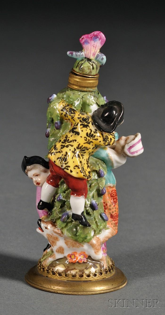 Small German Porcelain Figural Scent Bottle