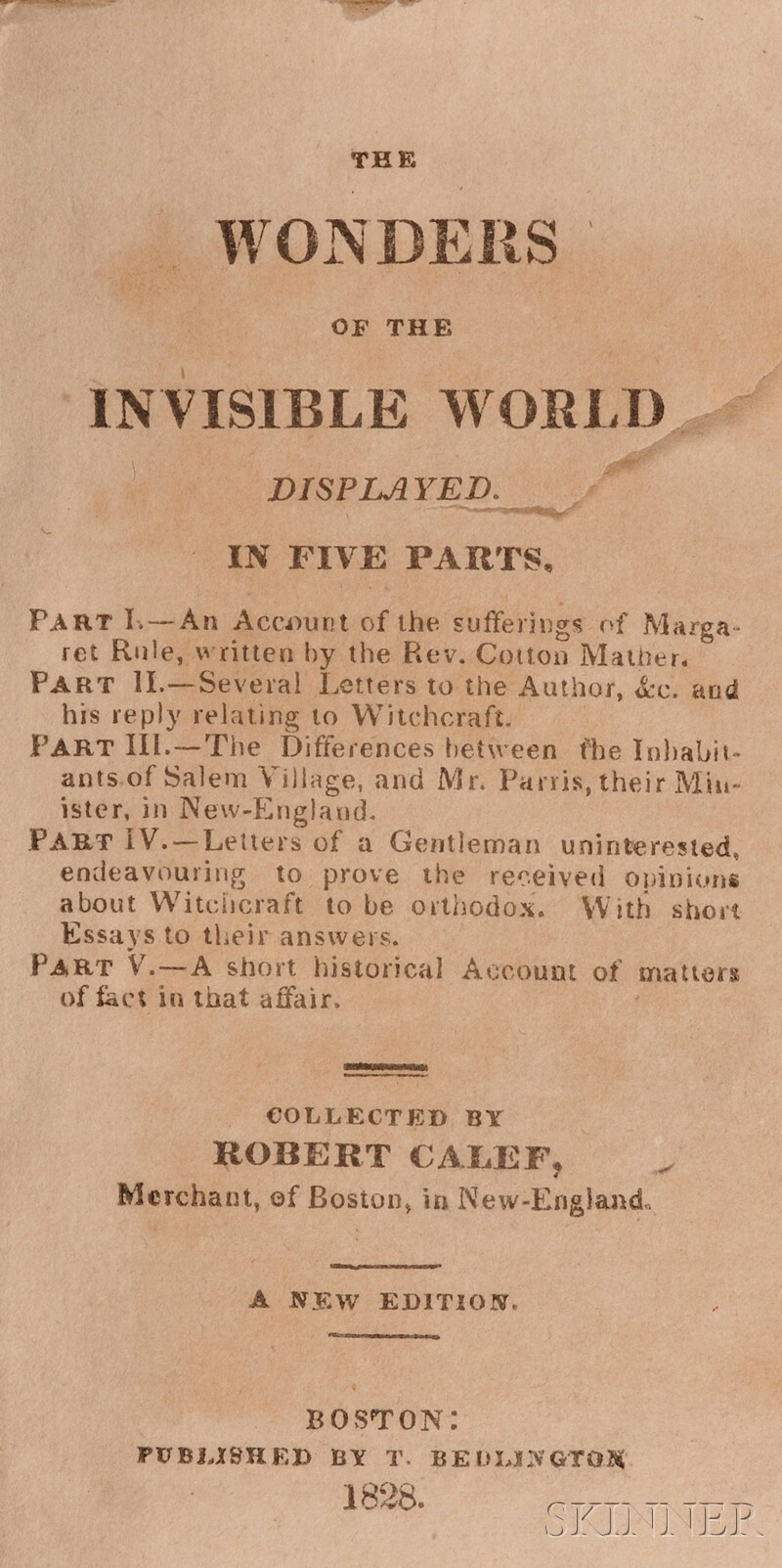 (Witchcraft), Calef, Robert (1648-1719) & Mather, Cotton (1663-1728)