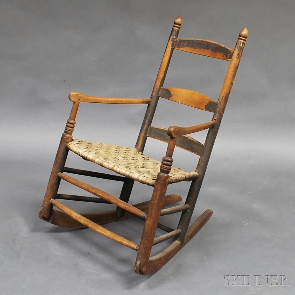 Black-painted and Turned Ladder-back Armrocker