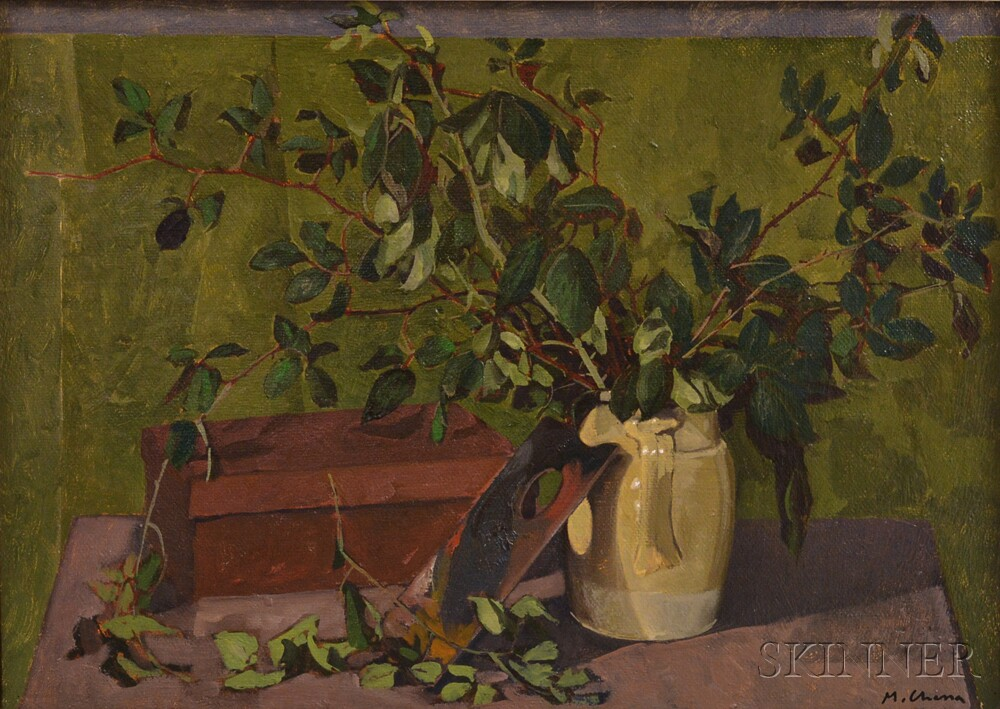 Mauro Chessa (Italian, b. 1933)      Still Life with Greenery in a Ceramic Jug and an Artist's Palette