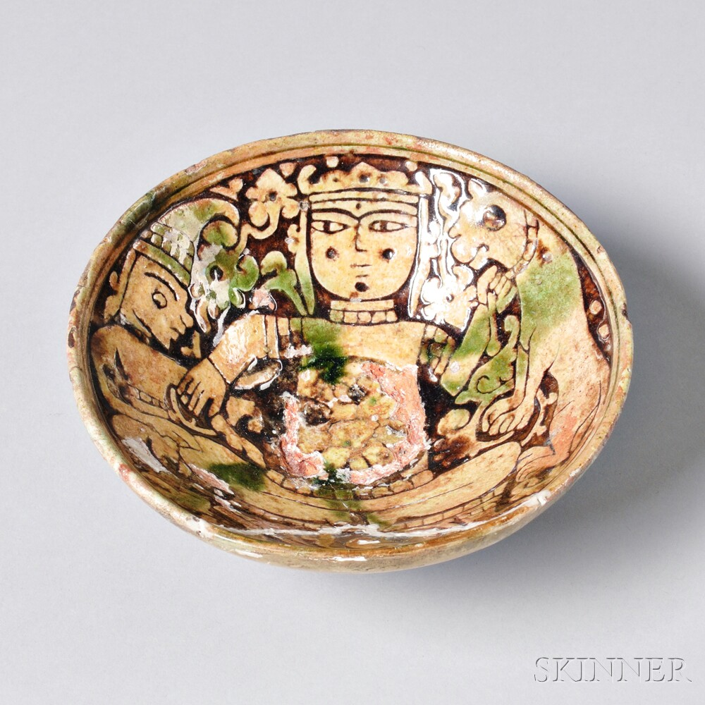 Polychrome Pottery Garrus Bowl with Figural Decoration