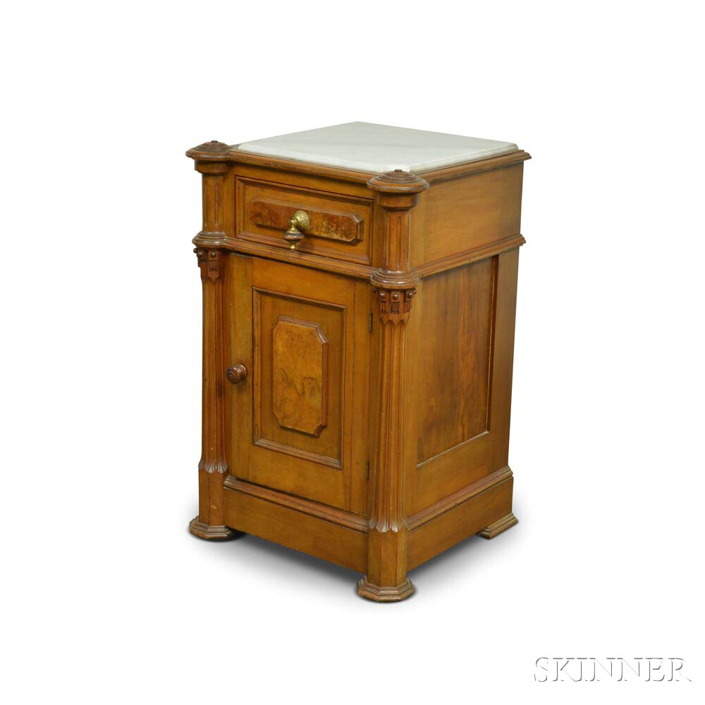 Renaissance Revival Marble-top Carved Walnut Commode