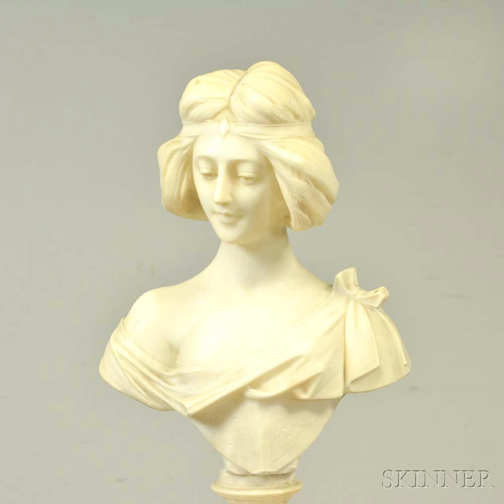 Carved Alabaster Bust of a Girl with Pedestal