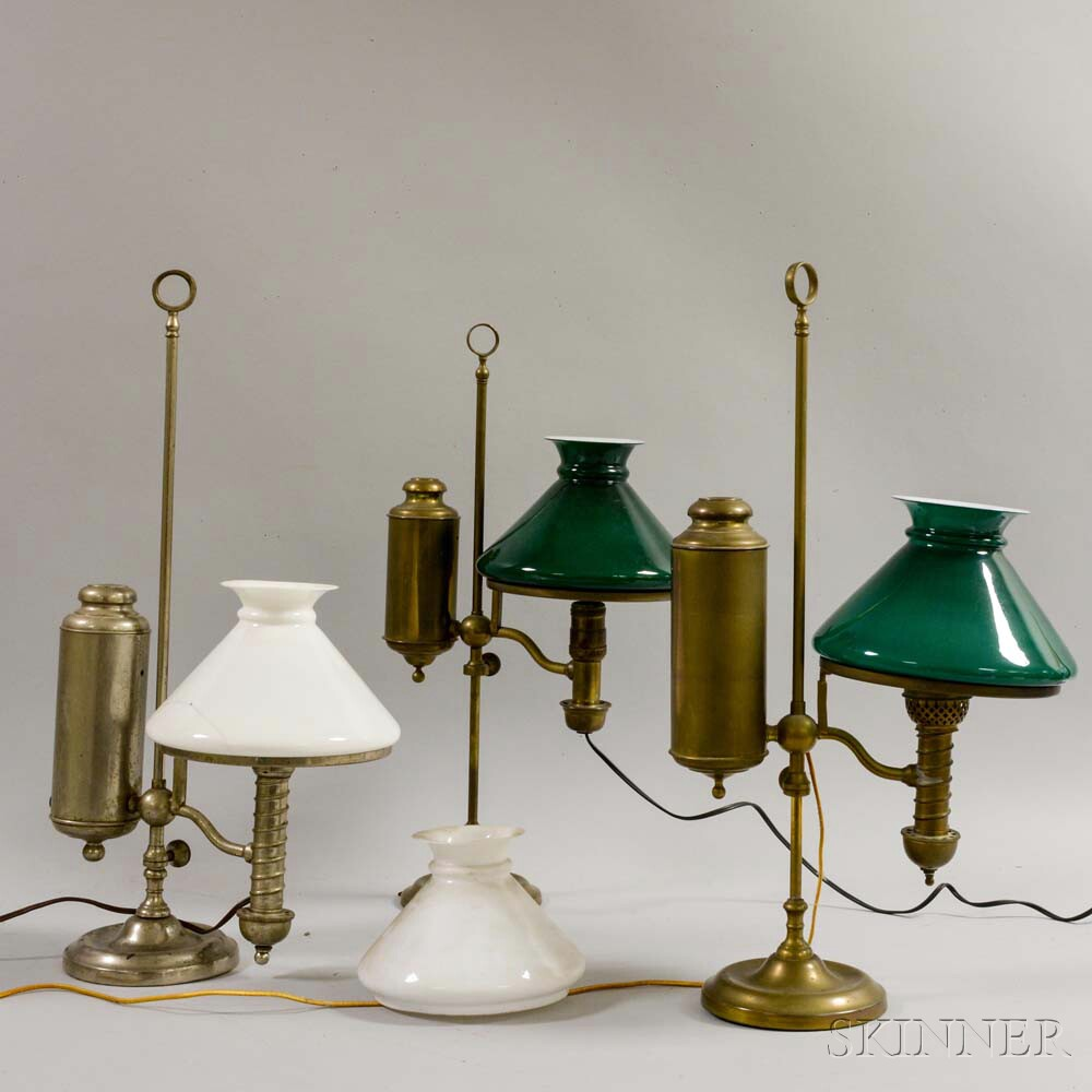 Three Metal and Glass Student Lamps