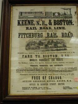 Keene New Hampshire & Boston Railroad Broadside.