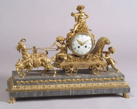 French Louis XVI-style Gilt Bronze and Gray Marble Figural Mantel Clock