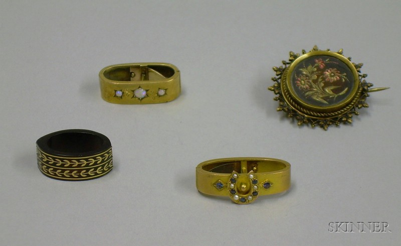 Two English 9kt Gold Tie Clips, a Tortoiseshell Tie Clasp, and a Brooch
