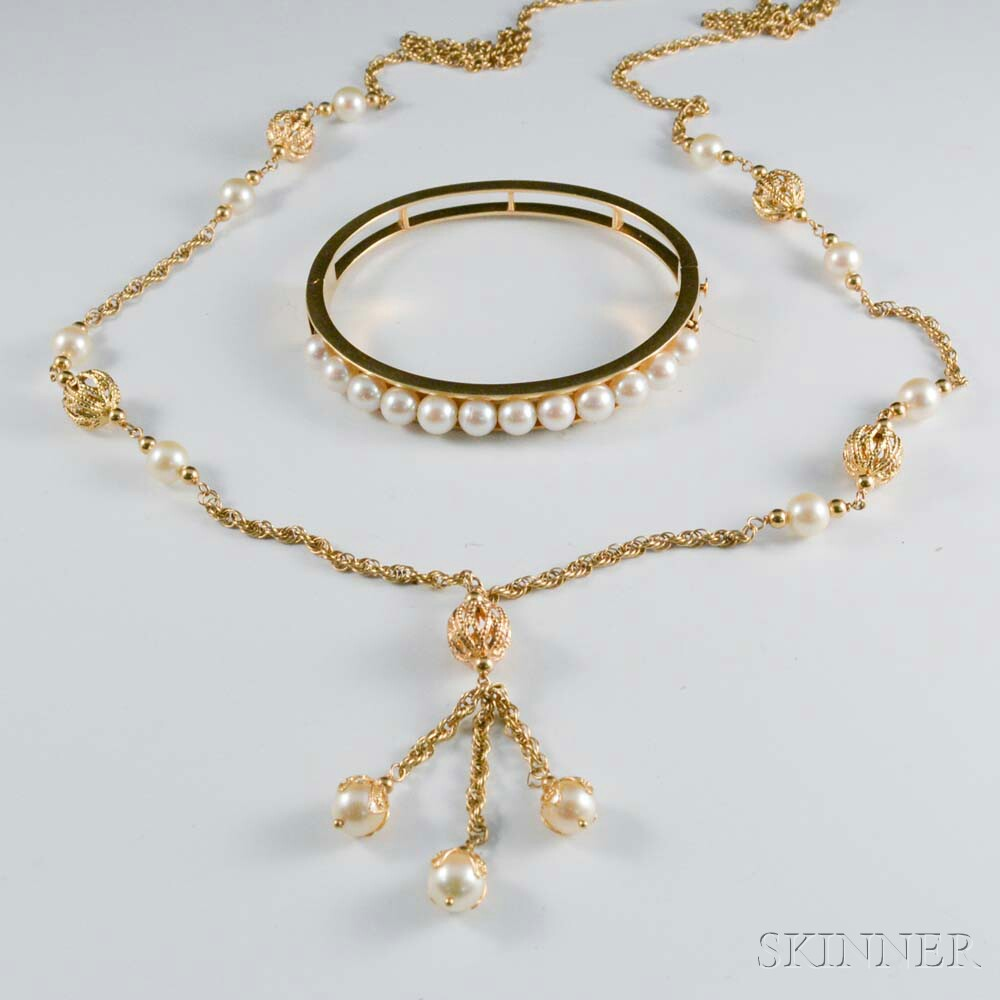 14kt Gold and Pearl Necklace and Hinged Bangle