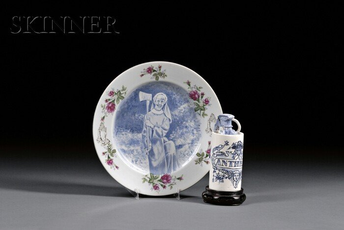 Charles Wing Krafft (American, 20th/21st Century)      Lot of Two Ceramic Pieces:  Nun With Axe Plate