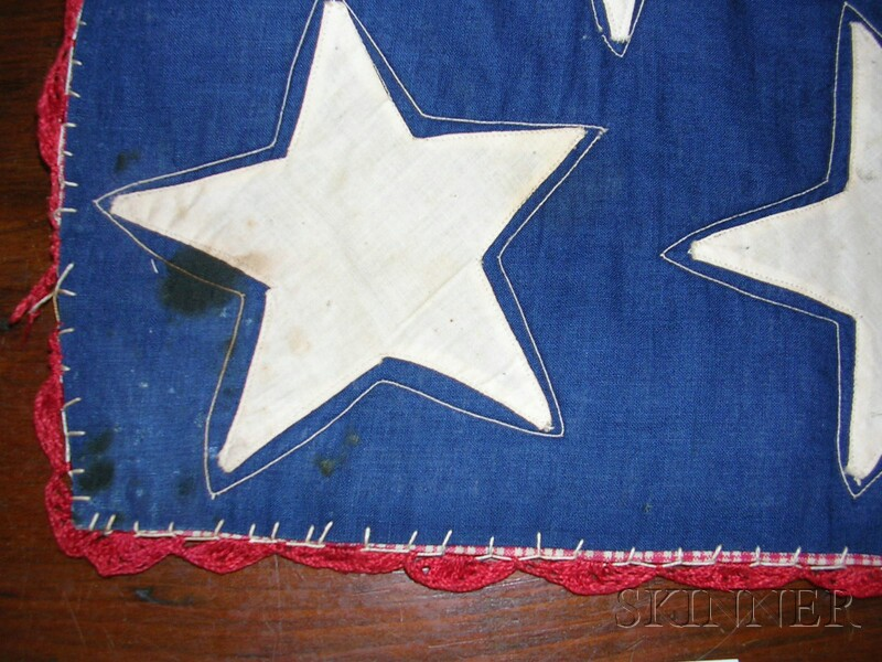 Embroidered Pieced Cotton Suffragette Fund-raising Quilt with Stars and Stripes