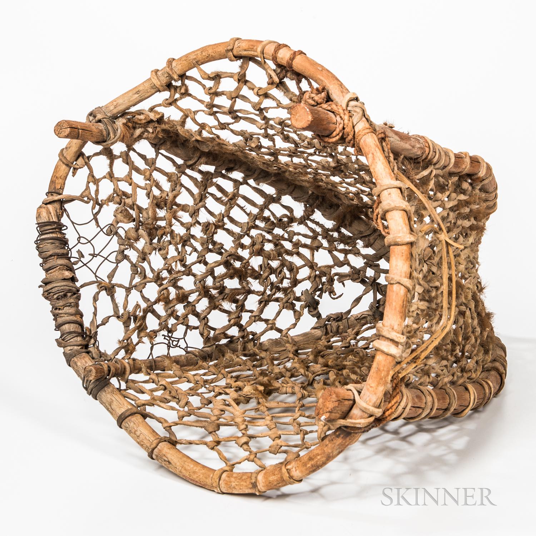 Large Bentwood and Hide Burden Basket