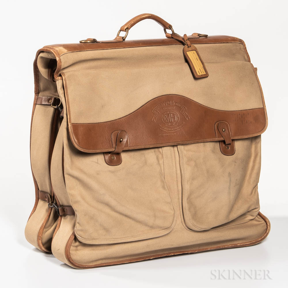 Canvas and Brown Leather-trimmed Marley Hodgson Ghurka Garment Bag