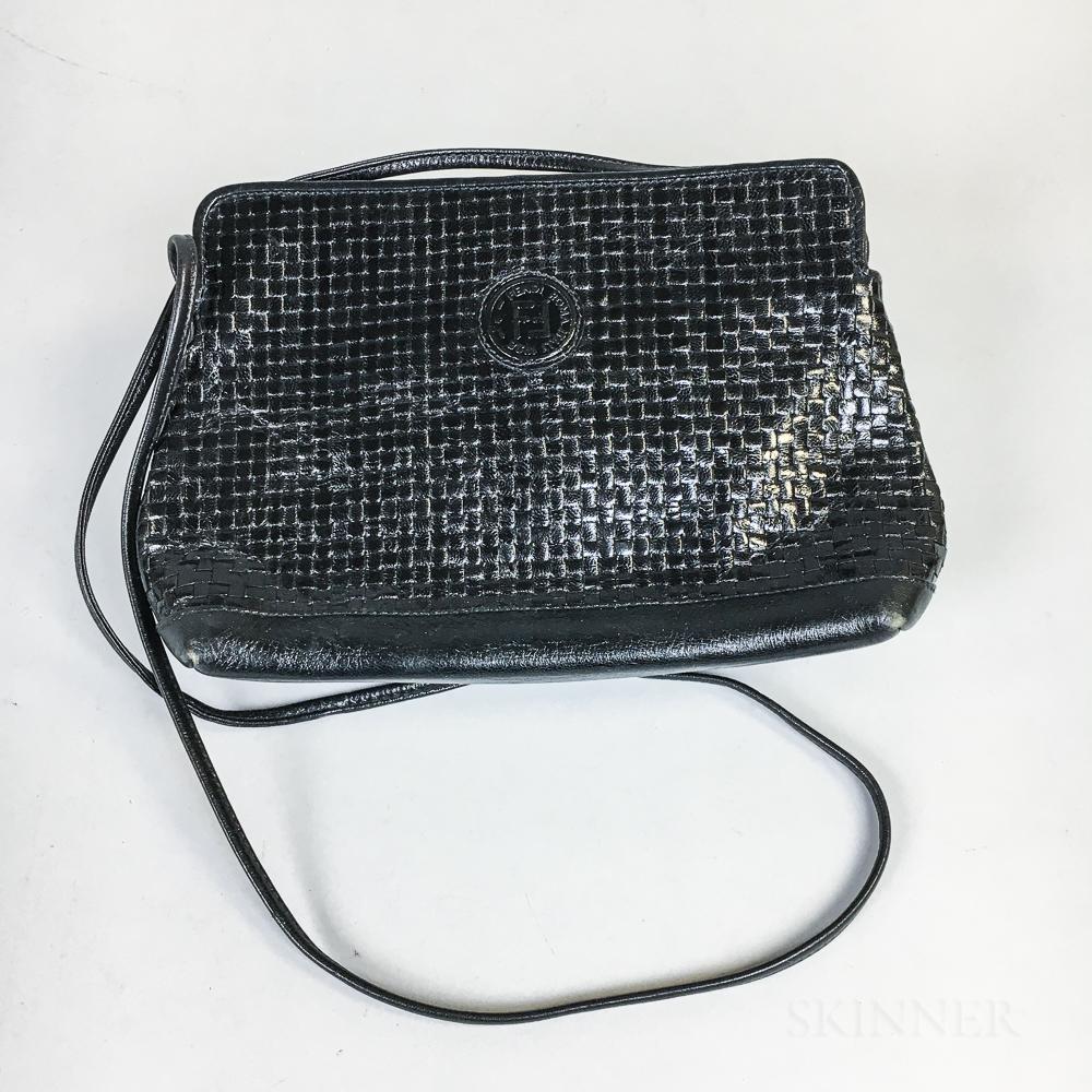 Fendi Black Woven Leather Handbag