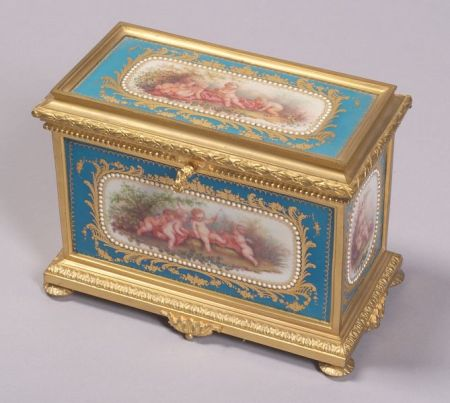 """Sevres"" Porcelain and Gilt Bronze Mounted Jewel Box"