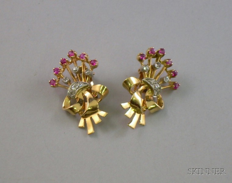 14kt Rose Gold, Diamond, and Ruby Retro Earclips.