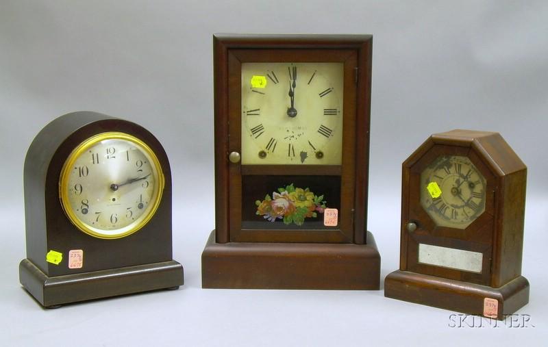 Three Seth Thomas Mahogany-cased Mantel Clocks
