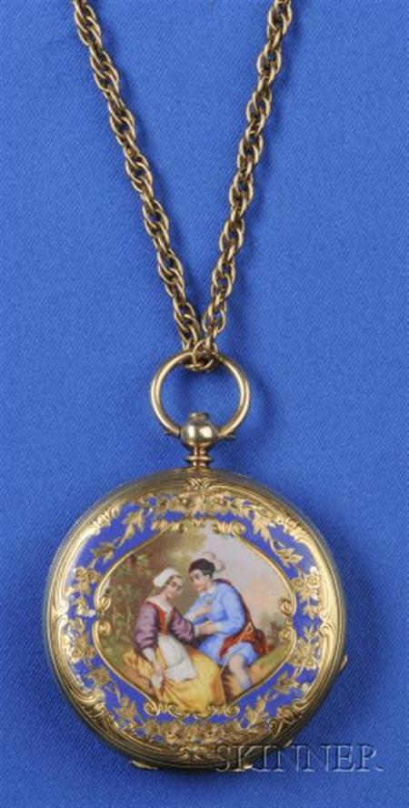Antique 18kt Gold and Enamel Open Face Pocket Watch