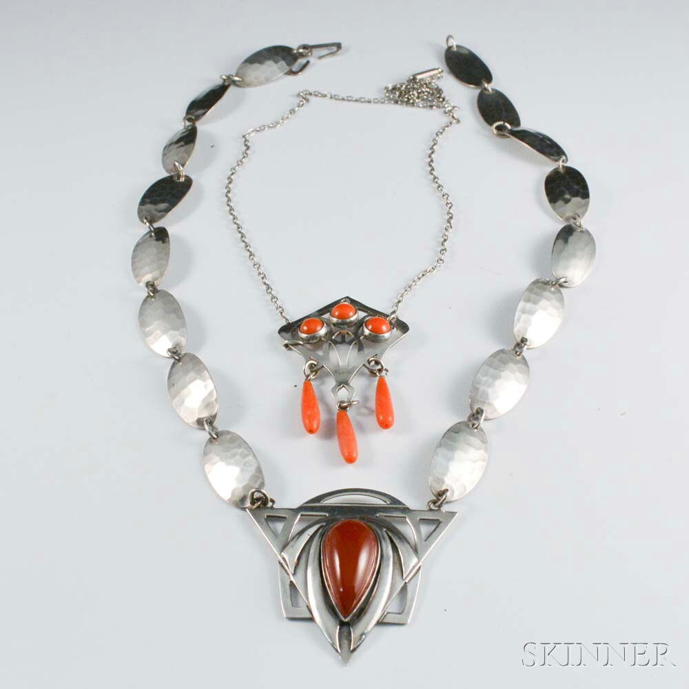 Two Art Deco Sterling Silver and Hardstone Necklaces