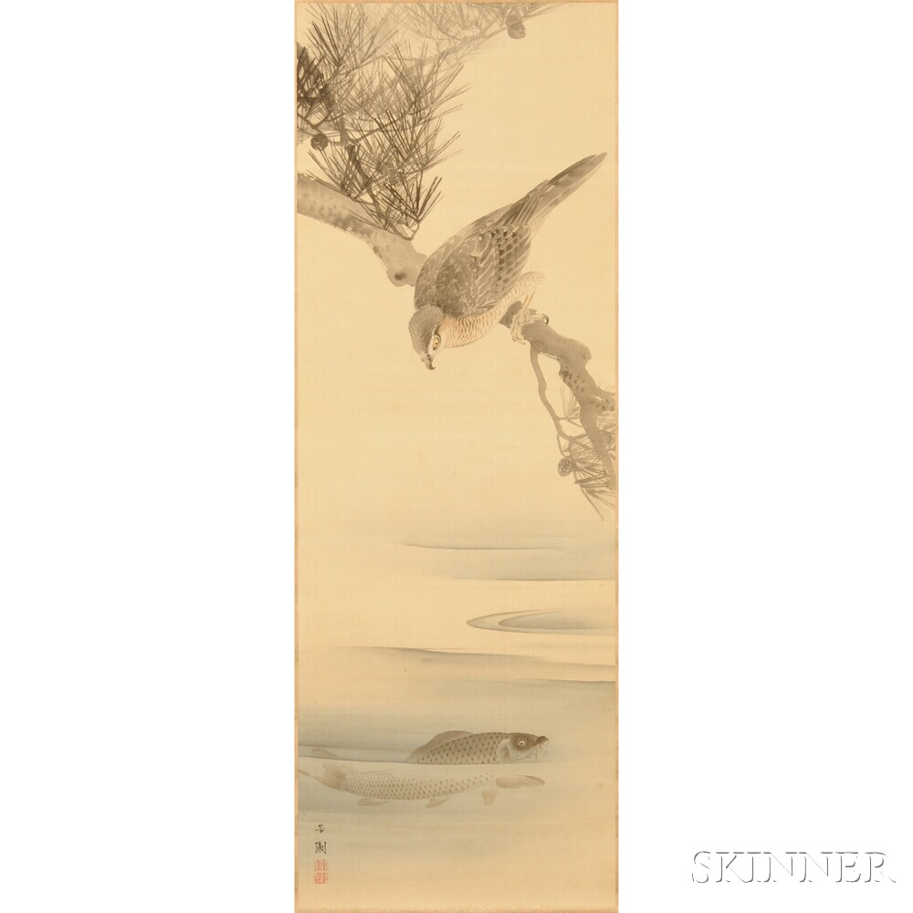 Hanging Scroll Depicting a Hawk on a Pine Branch