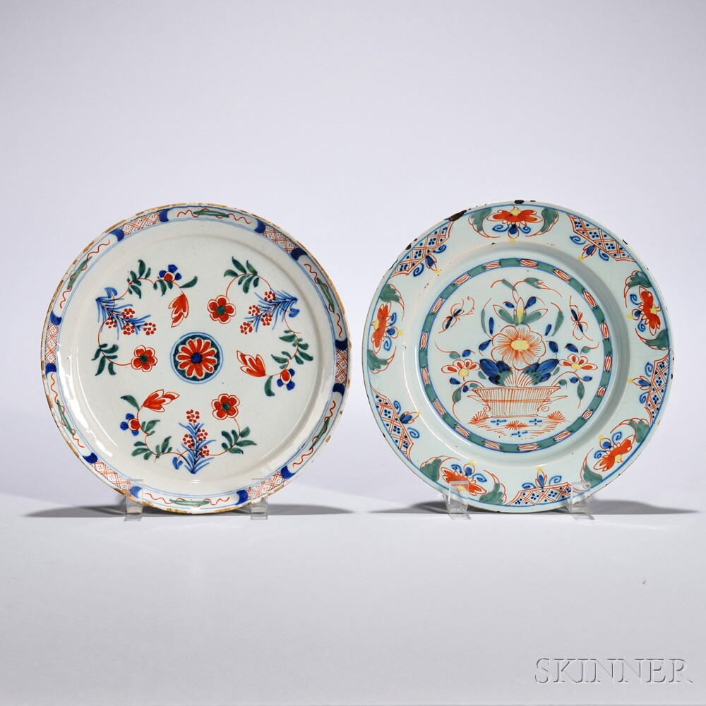 Two Tin-glazed Earthenware Dishes