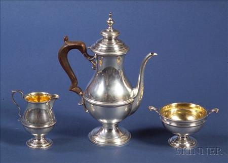 Redlich & Co. Queen Anne-style Three Piece Sterling Demitasse Set