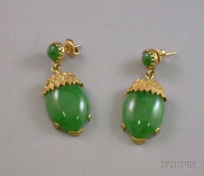 14kt Gold and Jade Acorn-form Earpendants