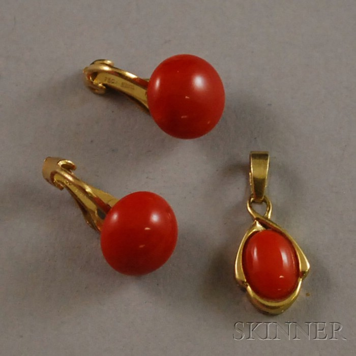 Two Gold and Coral Jewelry Items