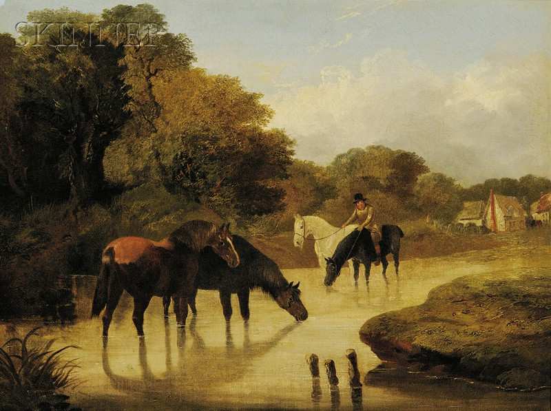 Attributed to John Frederick Herring, Jr. (British, 1815-1907)      Horses Watering by the River Bend