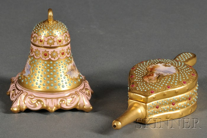 """Two Small Coalport """"Jeweled"""" Porcelain Articles"""