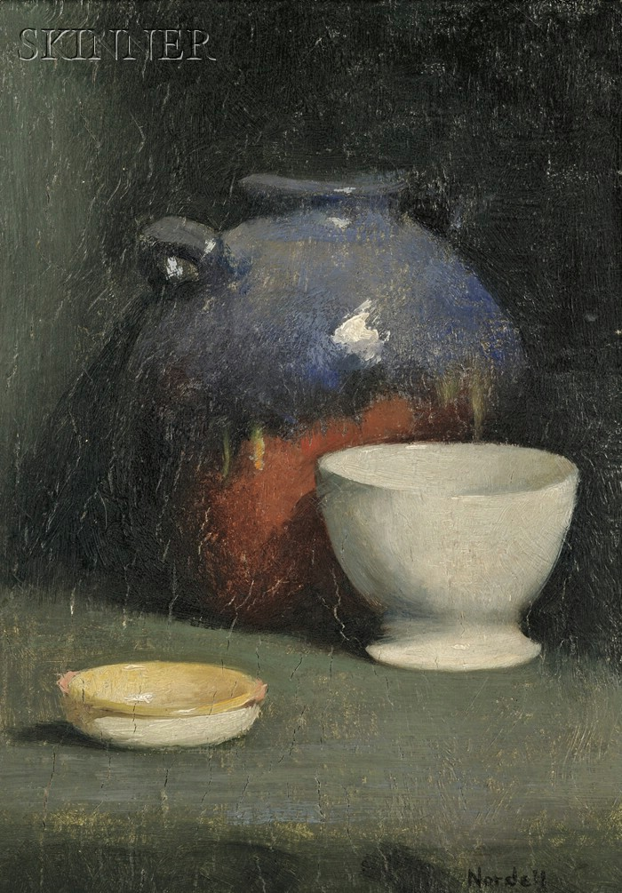 Carl John David Nordell (American, 1885-1957)      Still Life with Cup and Crock