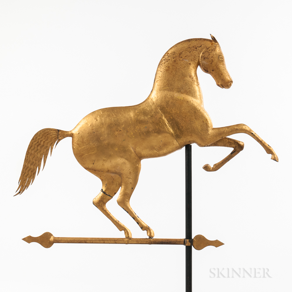 Molded Sheet Copper and Zinc Rearing Horse Weathervane