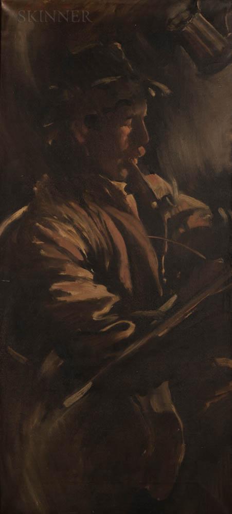 George Hawley Hallowell (American, 1871-1926)      Pipe Smoker