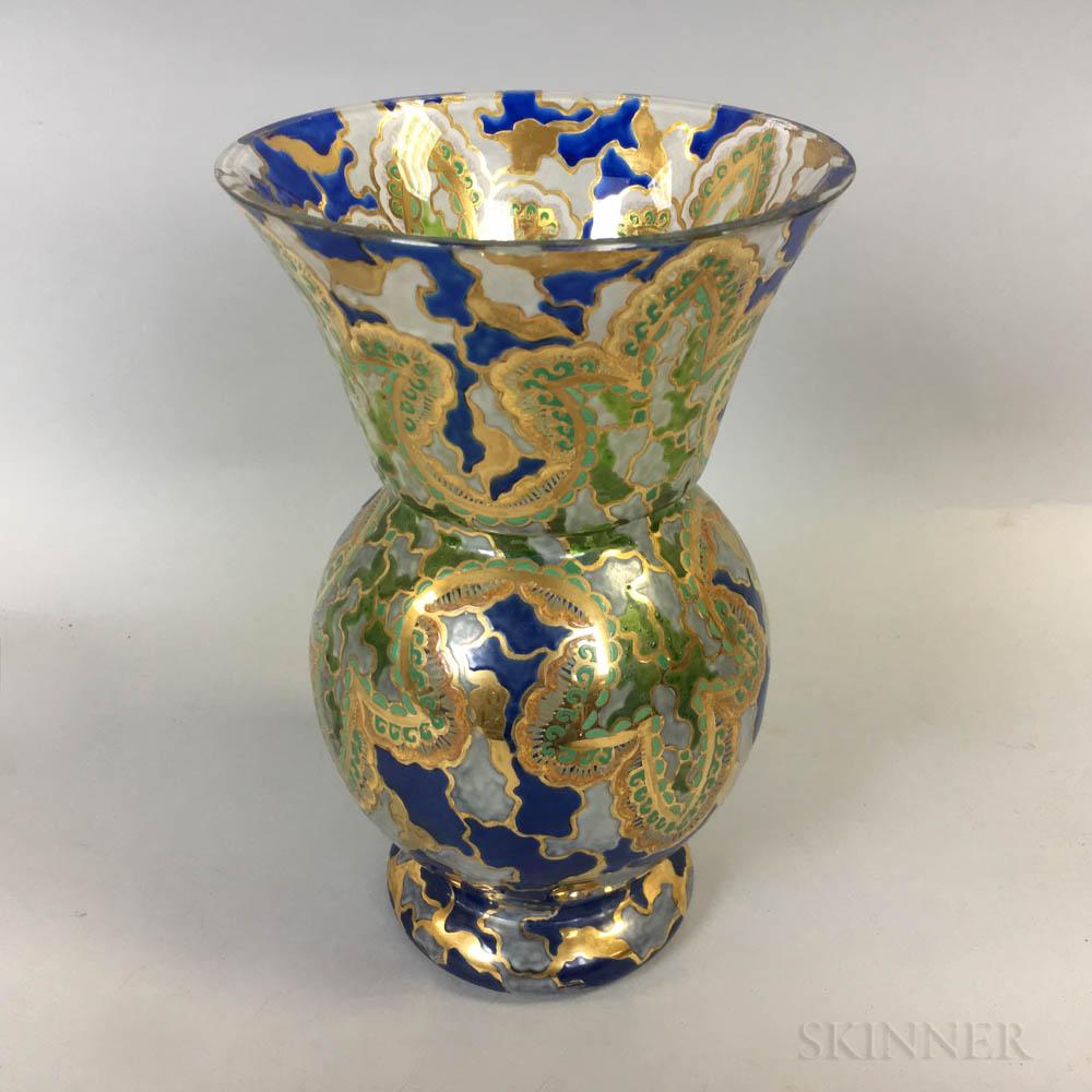 E. Riera Enameled Art Glass Vase